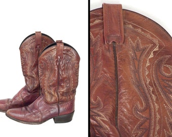 Dan Post Boots Mens Size 9.5 D Lizard Leather Russet Red Brown Cowboy Western