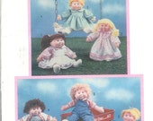 Vintage 1985 Simplicity 6323 Doll Wardrobe For 16 and 18 Inch Soft Sculptured Dolls Such as Flower Kids, and Cabbage Patch Kids, One Size