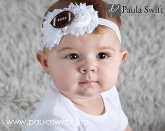 Superbowl Baby Headband. Football Baby Headband.  Newborn Football Headband.  Baby Headband Football.  Baby Girl Football Outfit