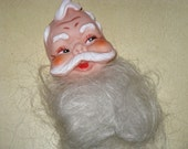Vintage Santa Doll Head Face With BEARD Hair 1960's Crafts Decorating New Vintage Christmas