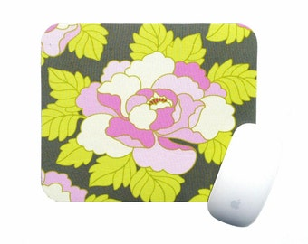 Mouse Pad / Peony Pink Cream Green Gray / Amy Butler / Home Office Desk Decor / Slightly Smitten Kitten