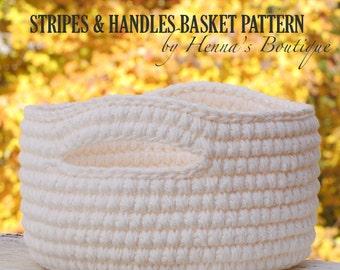 Crochet Basket Pattern - Stripes and Handles Basket- PDF