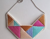 Embroidered statement necklace geometric triangles in beautiful colors of mint green pink lavender and tan bold design