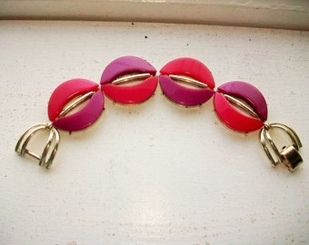 Mid Century Cora Bracelet Red and Purple Circles Gold Tone Vintage Jewelry