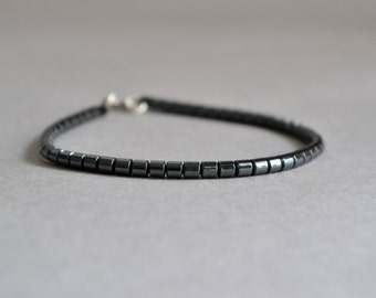 Mens Hematite Bracelet, Mens Bracelet, Hematite Jewelry, Mens Jewelry, Stone Bracelet, Minimalist Bracelet Healing Yoga Meditation Jewelry