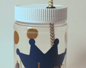 Personalized Plastic Mason Jar Cups - Prince Crown - Princess - Personalized Party Favor