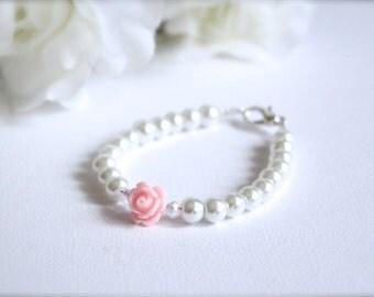 Pearl Bracelet, Cabochon Pink Flower Charm Bracelet, Flower Girl Gift, Little Girls Bracelet - FREE Gift Packaging