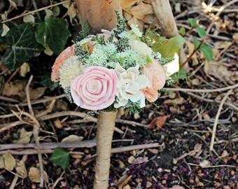 Bridesmaid Bouquet Luxe Collection- Wedding Bouquet, Queen Anne's Lace, Alternative Bouquet, Sola Bouquet, Rustic Wedding