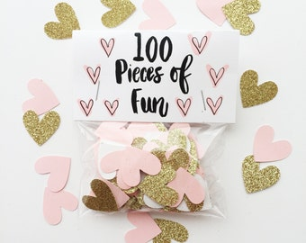 Party Confetti- 100 pieces of fun blush and gold confetti, pink and gold wedding, pink shower, gold wedding, pink and gold party confetti