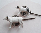 Cow and Sheep Filigree Bobby Pins, Rockabilly Hair Accessories, Fun Hair Pins, Gift Under Ten
