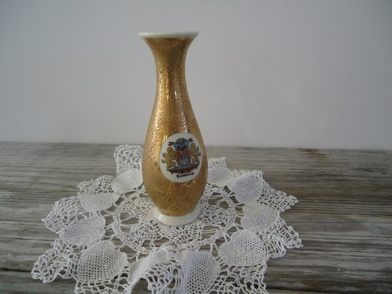 speckled gold vase royal porzellan bavaria km germany hamburg city coat of arms small handarbeit