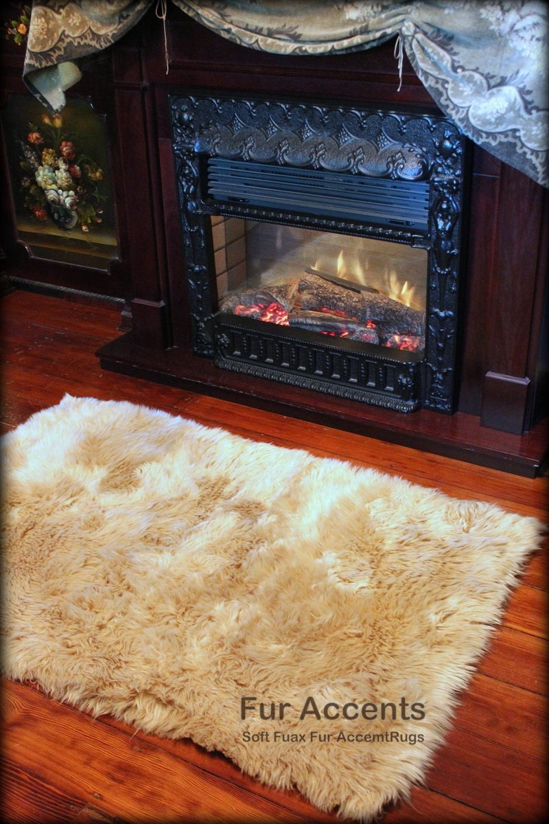 Faux Fur Area Rug Soft Luxury Fur Sheepskin Rectangle