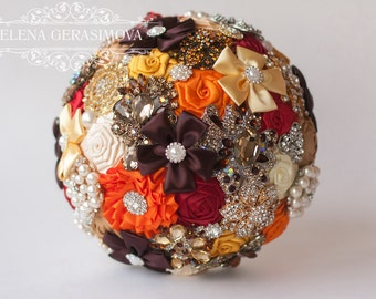 Brooch Bouquet. Orange Autumn Fabric Bouquet, Unique Wedding Bridal Bouquet, ,Rhinestone Bouquet