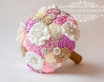Brooch Bouquet. Pink gold ivory Fabric Bouquet, Unique Wedding Bridal Bouquet