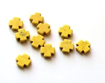 SALE 10 Cross Beads - Yellow - Howlite - 15x15mm - Ships IMMEDIATELY from California  - B1116