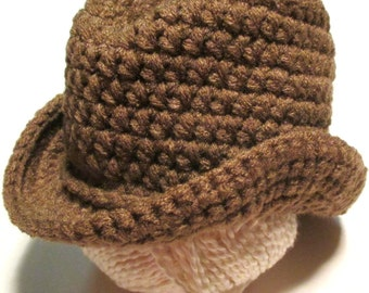Crochet baby cowboy hat.  Photography prop for baby gender neutral baby hat.  Cowboy.  Made to order.  Infant cowboy hat.