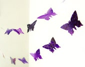 Purple violet garland in paper butterflies