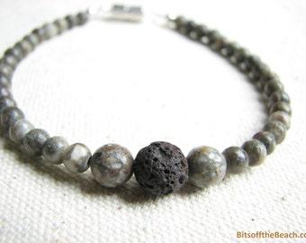 Lava Stone Bracelet, Mens Beaded Bracelet Unisex Diffuser Bracelet Diffuser Jewelry Minimalist Stone Jewelry Gift for Men