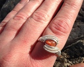 Wire Wrap Ring, Sunstone Ring, Wire Wrapped Sunstone, Handmade Jewelry, Wire Wrap Jewelry, Crystal Wrap, Sweet Water Silver, Ring Size 7.5