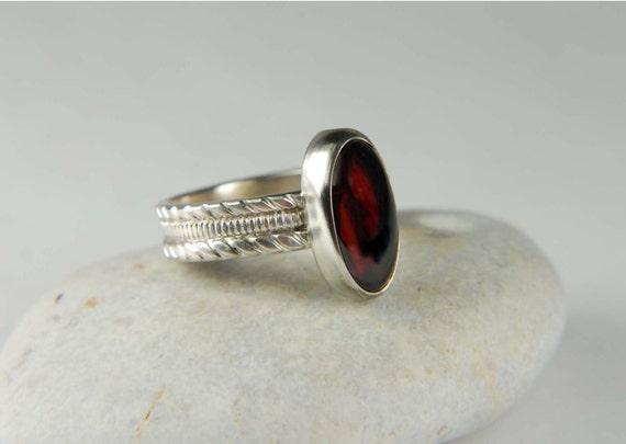 Red Garnet Ring - Artisan Ring January Birthstone Jewelry Gemstone Ring Bezel Ring Boho Ring Garnet Jewelry