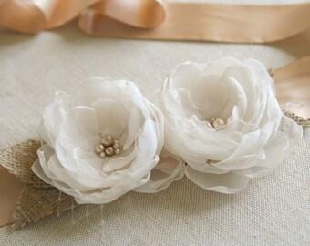 SALE - Rustic Bridal Sash, Champagne and Cream Bridal Flower Sash, Burlap Wedding Dress Sash, Chiffon Flower Sash, Oatmeal, Tan, Pearls
