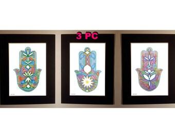 HAMSA hand Artwork SET of 3 Items Collection, Judaica art Signed Israeli artist, Fatima Hand, Wall decor Black Passe Partout, home blessing