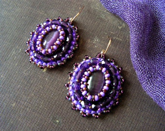 Purple Beadwork Earrings Bead embroidery earrings Purple Earrings Purple dangle Earrings Bead embroidered jewelry MADE TO ORDER