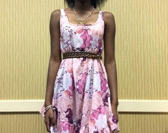 The Julie Dress - Pink Semi-sheer Chiffon Dress with Ruffles - XS - SALE