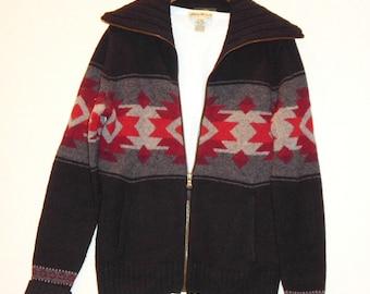 S.A.L.E..Ralph Lauren Ladies Navajo Indian Southwestern Cozy Zipper Cardigan Sweater M