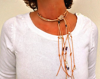 Mothers day gift, Beaded Lariat Necklace of Natural Leather, Wrap Bracelet, Leather Wrap Bohemian Jewelry