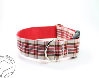 "Dress Stuart (Stewart) Tartan Dog Collar - Red and White Plaid - 1.5"" (38mm) Wide Matingale or Side Release - Choice of style and size"