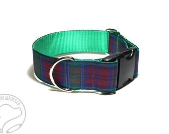 "Lindsay Clan Tartan Dog Collar - 1.5"" (38mm) Wide - Green Plaid - Martingale or Quick Side Release - Choice of collar style and size"