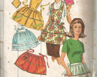 Vintage 1960s Apron and Potholder or Oven Mitt Pattern: Simplicity Sewing Pattern 6808 Uncut with Embroidery Transfers