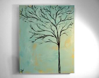 Brown Tree on Blue-16x20