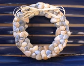"""Shell wreath - 8.5"""" - blue wreath - coastal wreath - seashell wreath - beach wreath - nautical wreath"""