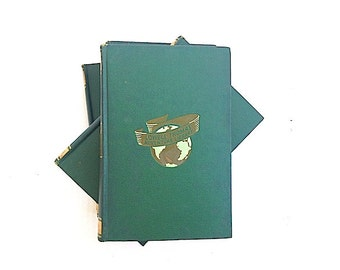 Antique Hardcover  Book Bundle, Lowell Thomas Adventure Library, Mid Century Modern Home Decor,  Green Books,