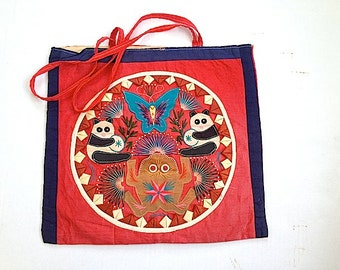 Mid Century Tote Bag Purse Handbag, Asian Themed Shoulder Bag, Bohemian Chic Tote Bag, Folk Art Hand Bag,