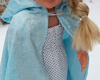 "Elsa / Once Upon a Time / Snow Queen inspired Cloak / Cape for American Girl 18"" Doll Crushed Sparkle Velvet Ready to go- Frozen Elf Hobbit"