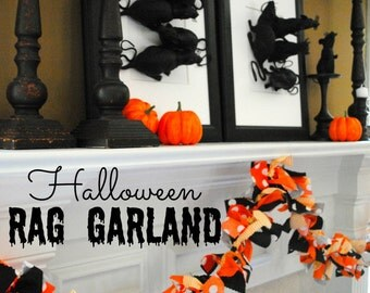 Halloween Fabric Tie Garland (Black Orange Polka Dot Fabric Bunting Extra Long) + 10% off Party Supplies Coupon