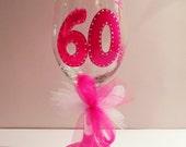 Birthday Wine Glass - 60th Birthday - Hand Painted Glass