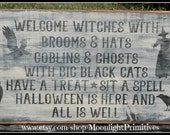 Welcome Witches, Witch, Wicca, Halloween Signs, Halloween, Wooden Signs
