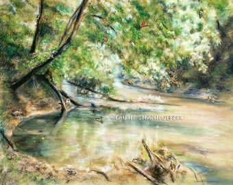 "wildlife ""River's Bend"" Original pastel painting art landscape 24x30 hidden animals, find 20 critters in natural habitat, Laurie Shanholtzer"