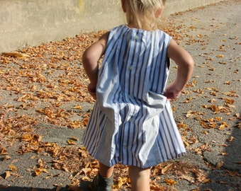 Boutique Dress. One-of-a-Kind Dress(size 3T) and Bloomers--Made from 100% cotton men's shirts