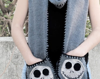 Valentines Day Scarf - Knitted Scarf with Pockets - SCARVES - Jack Skellington, Teens, Girly Scarf, Knitting Pockets Scarf for Her,