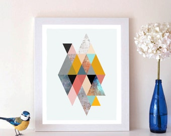DOWNLOADABLE | Geometric Retro Triangles, Wall Print, Digital Print, Penelope and the Ducks