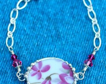Bracelet, Broken China Jewelry, Broken China Bracelet, Pink and Violet China, Sterling Silver, Soldered Jewelry