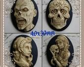 Antiqued Zombie Skull DAY of the DEAD Sugar Skull Skeleton Cameo Cab Cabochon Dia de los Muertos Skull Black Ivory 40x30mm 1 piece