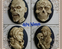 Antiqued Zombie Skull DAY of the DEAD Sugar Skull Skeleton Cameo Cab Cabochon Dia de los Muertos Skull Black Ivory 40x30mm 1 piece