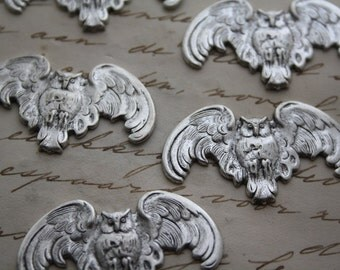 Owl Owls 5 Pieces Silver Owls - Silverplated - Whimsical