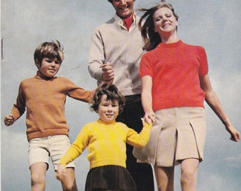 Sirdar Knitting Pattern No 8005 for Womens and Men Childrens Sweaters - Vintage 1970s